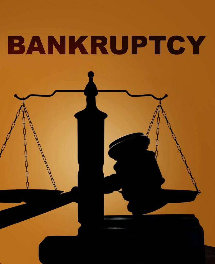 Judges gavel with the word, bankruptcy across the top
