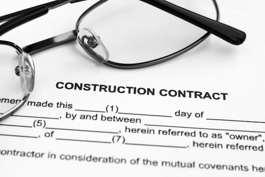 Construction contract paperwork