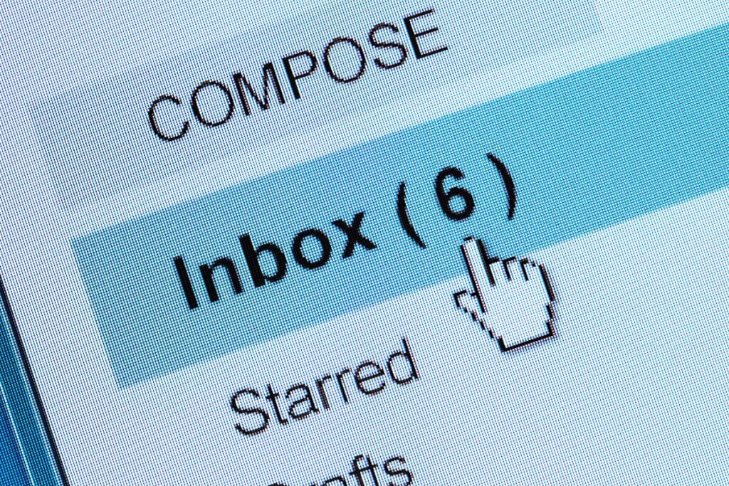 Email Menu showing inbox