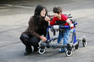 Mother with special needs son in wheelchair
