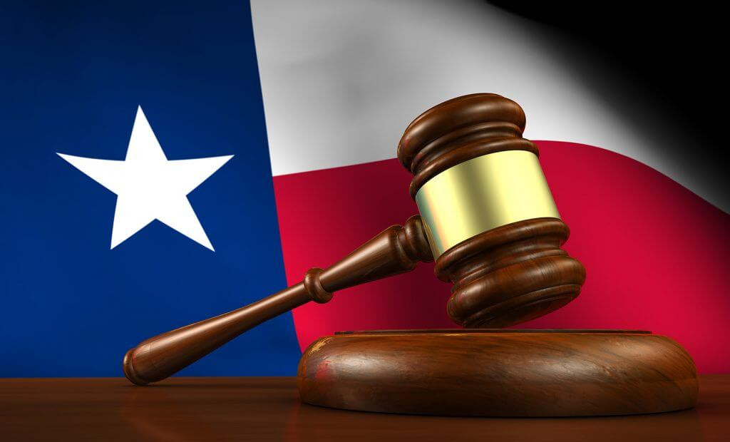 Judge gavel and texas flag