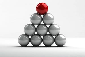 A triangle tower of metal spheres